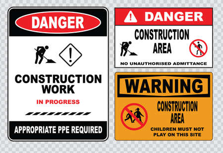 trespassing: site safety sign or construction safety construction area no unauthorized admittance danger construction area do not enter warning construction site.