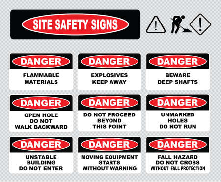 quarry: Site Safety Signs lifting in progress wrong way turn back beware cliff falls hand hazard strong magnetic field asbestos removal in progress overhead hazard quarry workings diesel fuel. Illustration
