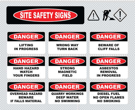 safety equipment: Site Safety Signs lifting in progress wrong way turn back beware cliff falls hand hazard strong magnetic field asbestos removal in progress overhead hazard quarry workings diesel fuel. Illustration