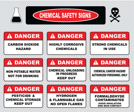 corrosive: Chemical safety signs caustic hazard toxcid chemicals battery acid chemical spill inhalation hazard vapors toxcid irritant avoid skin contact corrosive wear goggles rubber gloves hazardous.