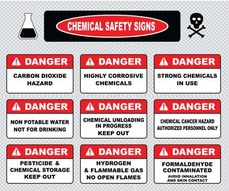 señales de seguridad: Señales de seguridad química peligro cáustica toxcid ácido de la batería químicos derrame químico vapores peligro de inhalación toxcid irritantes de contacto de la piel, evite guantes gafas de desgaste corrosivo goma peligrosos. Vectores
