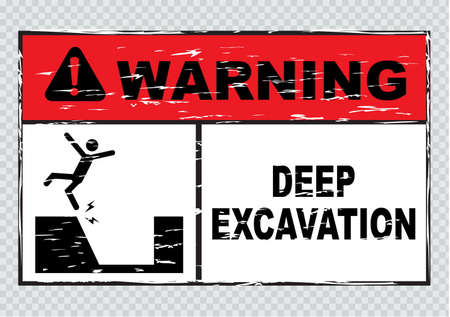 workplace safety: warning deep excavation beyond this hoarding quarry workings danger deep excavation. easy to remove scratch. Illustration