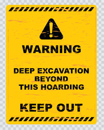 workings: warning deep excavation beyond this hoarding quarry workings danger deep excavation. easy to remove scratch. Illustration
