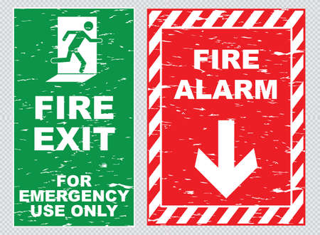 Fire alarm fire exit sign in vintage style eaty to remove scratch Vector