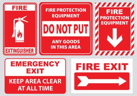 Set Of Fire Alarm Notausgang Notausgang nur halten Bereich frei zu jeder Zeit Feuerlöscher Feuer Ausrüstung Schutz stellen Sie keine Waren in diesem Bereich. einfach zu ändern. Standard-Bild - 40815451