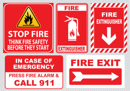 fire damage: Set Of Fire Alarm fire exit emergency exit only fire extinguisher in case of fire emergency press alarm and call 911 stop fire before they start. easy to modify