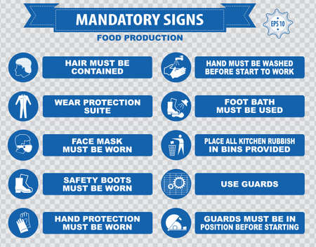 safety goggles: Food production mandatory sign hairnet must be worn safety goggles boots hand protection apron aisle place rubbish in bins provided guards food equipment face mask foot bath hand wash