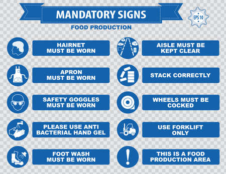 safety equipment: Food production mandatory sign hairnet must be worn safety goggles boots hand protection apron aisle place rubbish in bins provided guards food equipment face mask foot bath hand wash