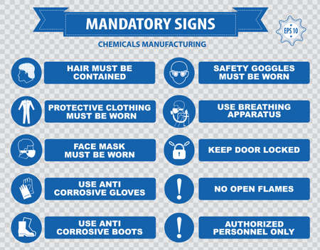 corrosive: Chemicals Manufacturing Mandatory Signs face shield must be worn use anti bacterial hand laboratory coal foot wash respirator breathing apparatus gloves boots hair clothing anti corrosive