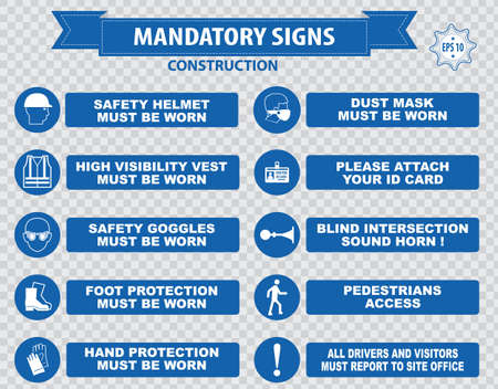 construction industry: Construction Site Mandatory Signs face shield hard hat must be worn high visibility vest safety goggles pedestrian walkway gloves boots all accidents must report bind intersection sound horn