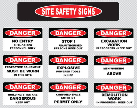 worn sign: various danger sign site safety signs no entry authorized personnel only excavation work in progress protective equipment must be worn explosive powered tools in use men working above. Illustration