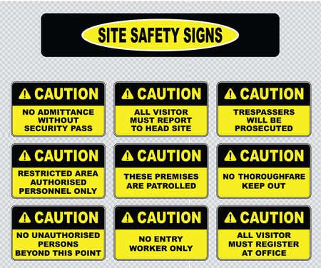 verschillende voorzichtigheid teken veiligheidsprogramma tekens geen toegang zonder veiligheid pas overtreders zullen worden vervolgd beperkt gebied deze panden worden gepatrouilleerd geen doorgang alle bezoekers moeten zich registreren Stock Illustratie