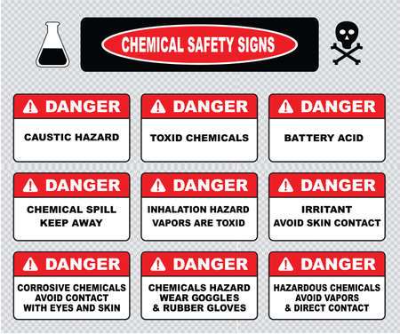chemical hazard: Chemical safety signs caustic hazard toxcid chemicals battery acid chemical spill inhalation hazard vapors toxcid irritant avoid skin contact corrosive wear goggles rubber gloves hazardous.
