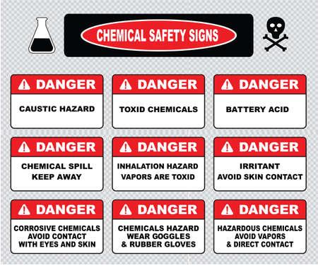 riesgo quimico: Señales de seguridad química peligro cáustica toxcid ácido de la batería químicos derrame químico vapores peligro de inhalación toxcid irritantes de contacto de la piel, evite guantes gafas de desgaste corrosivo goma peligrosos. Vectores