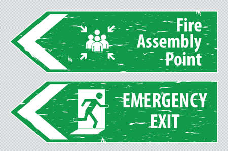 assembly point: emergency exit Sign fire exit emergency exit fire assembly point evacuation lane.