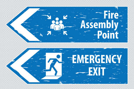 of them: emergency exit Sign fire exit emergency exit fire assembly point evacuation lane.