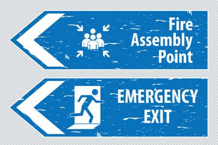 evacuacion: fuego Salida de la muestra carril punto de evacuación ensamblaje fuego salida de emergencia salida de emergencia.