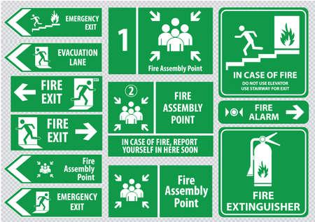 evacuacion: Conjunto de salida de emergencia de incendios Señal de salida de emergencia carril punto de evacuación ensamblaje fuego salida. Vectores