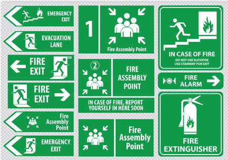 assembly point: Set of emergency exit Sign fire exit emergency exit fire assembly point evacuation lane. Illustration