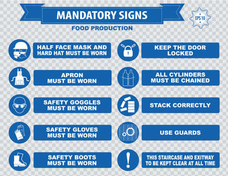 health hazard: Food production mandatory sign hairnet must be worn safety goggles boots hand protection apron aisle place rubbish in bins provided guards food equipment face mask foot bath hand wash