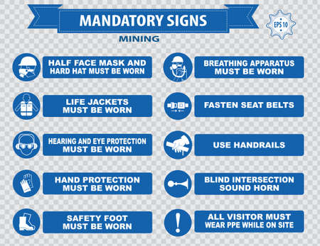 construction workers: Mining mandatory sign safety helmet with flashlight must be worn use handrails dust mask breathing apparatus goggles hearing protection fasten seat belts sound horn Illustration