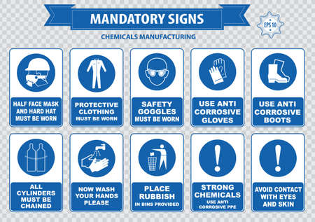 explosive gas: Chemical or Medical Mandatory sign hair contained corrosive gloves boots safety goggles explosive gas no open flame chemical hazard poison gas breathing apparatus avoid contact skin Illustration