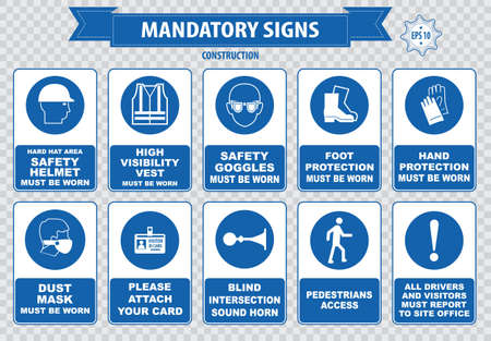 mandatory: mandatory signs construction health safety sign used in industrial applications safety helmet gloves ear protection eye protection foot protection sound horn id card mask