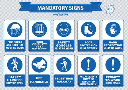safety at work: mandatory signs construction health safety sign used in industrial applications safety helmet gloves ear protection eye protection foot protection sound horn id card mask