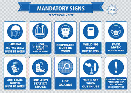 high visibility: Electrically Mandatory Sign hard hat face shield must be worn high visibility vest respirator welding mask anti static gloves turn off safety goggles protective cloth ground terminal belt
