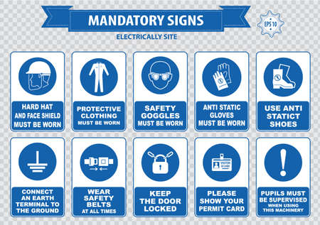 construction signs: Electrically Mandatory Sign hard hat face shield must be worn high visibility vest respirator welding mask anti static gloves turn off safety goggles protective cloth ground terminal belt