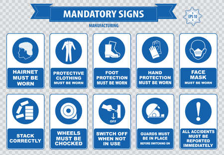 manufacturing occupation: mandatory signs construction health safety sign used in manufacturing applications safety helmet gloves ear protection eye protection foot protection sound horn id card mask Illustration