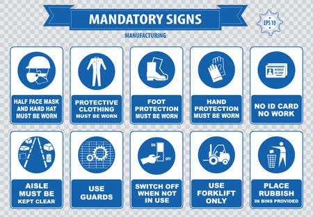 mandatory: mandatory signs construction health safety sign used in manufacturing applications safety helmet gloves ear protection eye protection foot protection sound horn id card mask Illustration