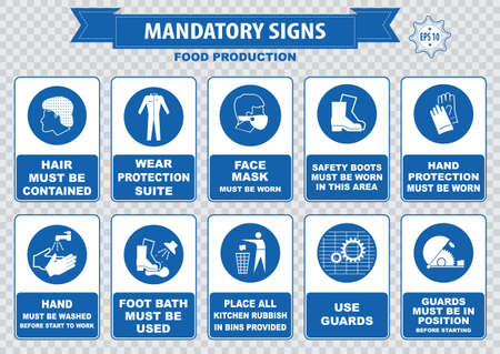 Food production mandatory sign hairnet must be worn safety goggles boots hand protection apron aisle place rubbish in bins provided guards food equipment face mask foot bath hand wash
