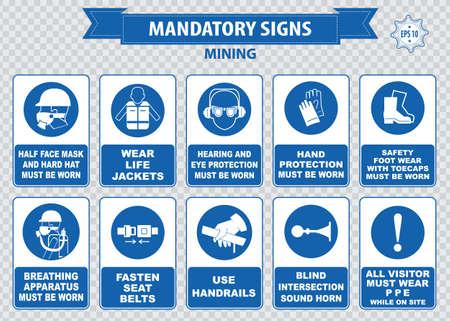 mining: Minería obligatorio casco de seguridad signo con la linterna se debe usar gafas de uso barandillas aparatos polvo máscara de respiración oyendo abrocharse los cinturones de seguridad de protección de cuerno de sonido