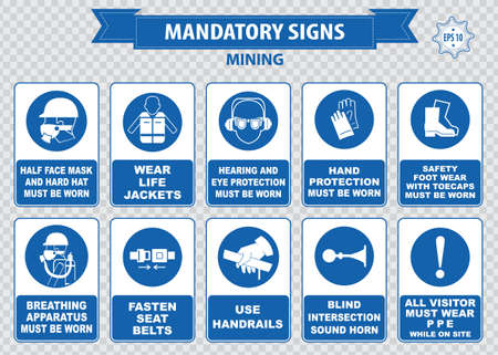 Mining mandatory sign safety helmet with flashlight must be worn use handrails dust mask breathing apparatus goggles hearing protection fasten seat belts sound horn Illustration