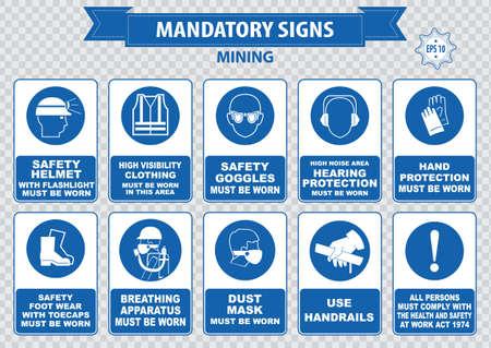 se�ales de seguridad: Miner�a obligatorio casco de seguridad signo con la linterna se debe usar gafas de uso barandillas aparatos polvo m�scara de respiraci�n oyendo abrocharse los cinturones de seguridad de protecci�n de cuerno de sonido