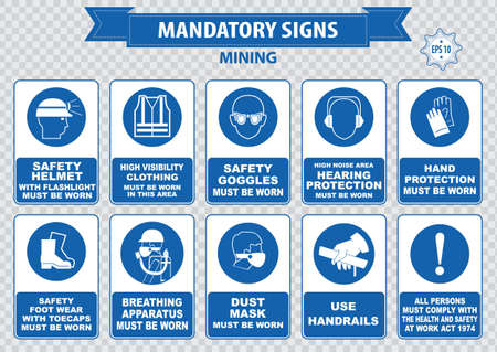 Mining mandatory sign safety helmet with flashlight must be worn use handrails dust mask breathing apparatus goggles hearing protection fasten seat belts sound horn Vettoriali