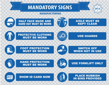 mandatory signs construction health safety sign used in manufacturing applications safety helmet gloves ear protection eye protection foot protection sound horn id card mask Illustration