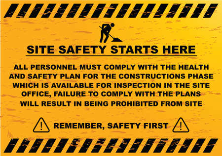 warning signs: site safety starts here or site safety sign all persons entering this site must comply with all regulations under this act. all visitor must report to the site office and obtain permission Illustration