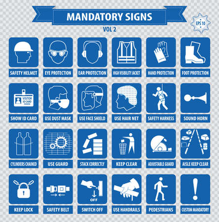 directives: mandatory signs construction health safety sign used in industrial applications safety helmet gloves ear protection eye protection foot protection hairnet respirator mask antistatic apron