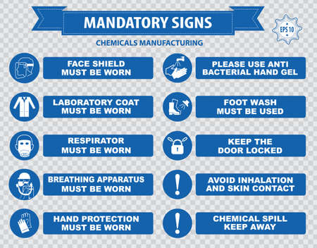 fabrication: Chemical or Medical Mandatory sign hair contained corrosive gloves boots safety goggles explosive gas no open flame chemical hazard poison gas breathing apparatus avoid contact skin Illustration