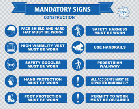 directives: mandatory signs construction health safety sign used in industrial applications safety helmet gloves ear protection eye protection foot protection sound horn id card mask