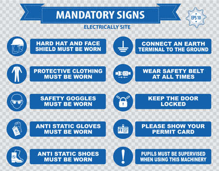 Electrically Mandatory Sign hard hat face shield must be worn high visibility vest respirator welding mask anti static gloves turn off safety goggles protective cloth ground terminal belt