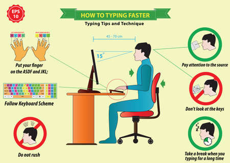 hands on keyboard: typing tips Illustration