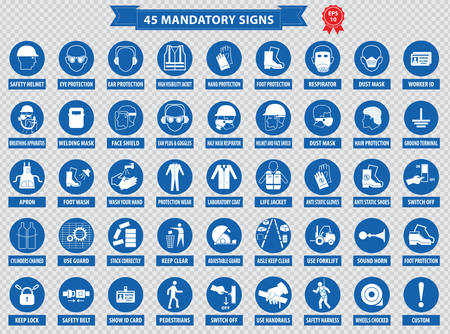 dangerous construction: mandatory signs, construction health, safety sign used in industrial applications safety helmet, gloves, ear protection, eye protection, foot protection, hairnet, respirator, mask, antistatic, apron