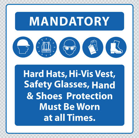 safety goggles: Construction Site Mandatory Signs Illustration