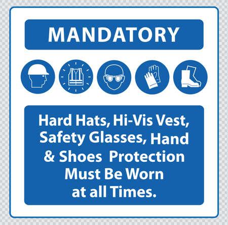 safety vest: Construction Site Mandatory Signs Illustration