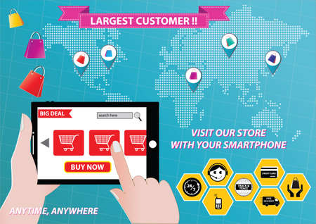 mobile commerce: On-line Shopping or mobile commerce illustration Illustration