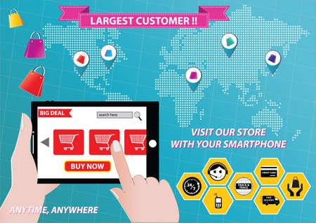 On-line Shopping or mobile commerce illustration Illustration