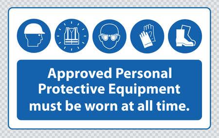 hard hats: Mandatory signs at construction zone hard hats, hi-vis vest, hand and foot protection must be worn Illustration
